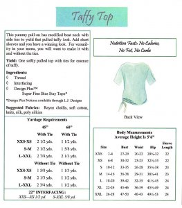 LJ Designs Taffy Top back view and yardage charts