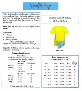 LJ Designs Truffle Top back views and yardage chart