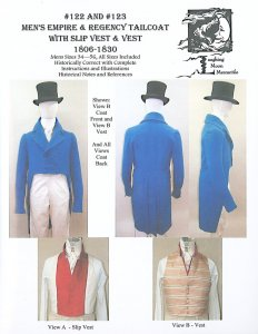 Laughing Moon #122 - #123 Men's Empire & Regency Tailcoat with Slip Vest and Vest