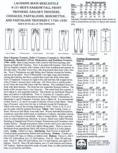 Laughing Moon #131- Men's Regency Trousers