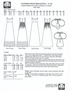 Laughing Moon Pattern #132, Ladies' Bodiced Petticoat