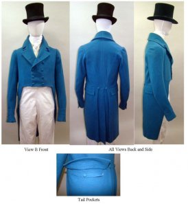 Laughing Moon #122 - Men's Regency Double-Breasted Tailcoat with Collar Notch and Lapel Options Sewing Pattern