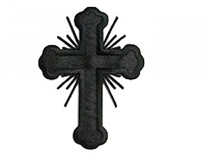 Budded Latin Cross Applique with Rays - Black
