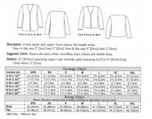 Loes Hinse Design - Zipper Jacket #5105, yardage chart