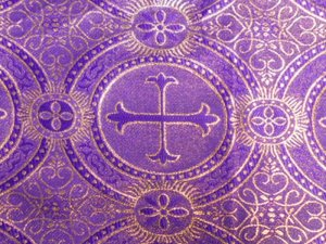 Metallic Church Brocade - Purple-Gold