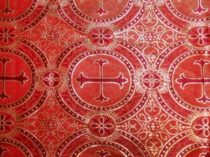 Wholesale Metallic Church Brocade - Red-Gold