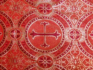 Metallic Church Brocade - Red-Gold