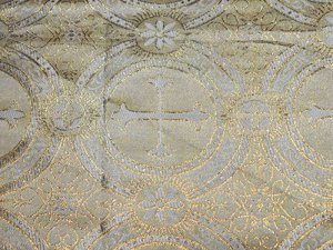 Metallic Church Brocade - White -Gold