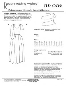 Reconstructing History Pattern #RH002 - 15th Century Womans Kirtle and Sleeves - medieval dress pattern