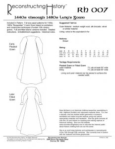 Reconstructing History Pattern #RH007 - 1440s through 1480s Lady's Gown, medieval dress pattern