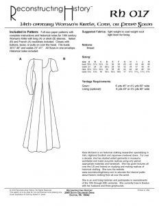 Reconstructing History Pattern #RH017 - 14th Century Women's Kirtle,  Cotehardie or Fitted Dress