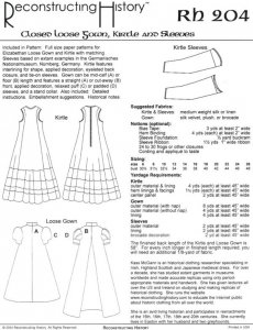 Reconstructing History Pattern #RH204 - Elizabethan Closed Loose Gown, Kirtle and Sleeves, Turdor dress pattern, Elizabethan dress pattern