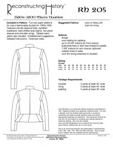 Reconstructing History Pattern #RH205 - Men's 1570-1600 Doublet, Elizabethan clothing pattern, Renaissance sewing pattern