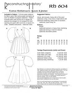 Reconstructing History Pattern #RH604 - Tudor Nobleman's Gown and Jerkin, Henry VIII clothing pattern,  Tudor costume pattern,