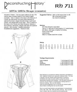 Reconstructing History Pattern #RH711 - Renaissance Corset Pattern - 17th Cent. Stays