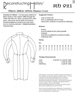Reconstructing History Pattern #RH921 - Men's Dress Coat or Tail Coat - Late 18th-early 19th Century