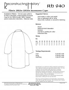 Reconstructing History Pattern #RH904 - Inverness Coat or Sherlock Cape pattern