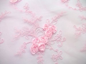 Double Border Rosette Netting - Pink view 3