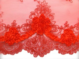 Double Border Rosette Netting fabric - close up border view