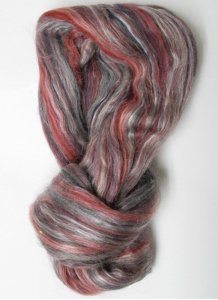 "Merino Wool & Silk Blend Roving color ""Red"""