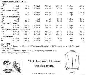 SAF-T-POCKETS 9700 - Yardage Requirements
