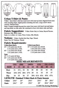 Sewing Workshop Collection Urban Tee and Pants yardage chart
