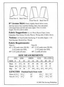 Sewing Workshop Collection 8th Ave Skirt pattern yardage chart
