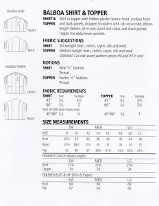 Sewing Workshop - Balboa Shirt & Topper yardage chart