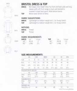 Sewing Workshop Collection - Bristol Dress & Top, yardage chart