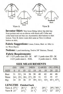 Sewing Workshop Collection Inventor Shirt pattern yardage chart