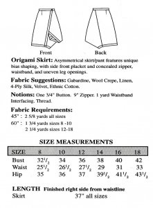 Sewing Workshop Collection Origami Skirt pattern yardage chart