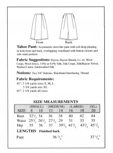 Sewing Workshop Collection Tahoe Pant pattern yardage chart