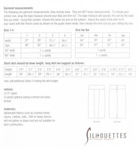 Silhouettes #2650 - Donna's Skirt, yardage chart
