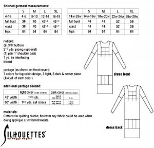 Silhouettes #4350 - Quilted Dress pattern, yardage chart