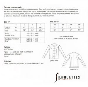 Silhouettes #950 Becky's Jacket - by Peggy Sagers - yardage chart