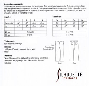 Silhouettes #3414 Jag's Woven Yoga Pant yardage chart
