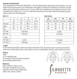 Silhouette Patterns #1600 Betsy's Jacket yardage chart