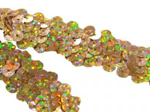 Stretch Sequin Trim - Spot Gold 3/4""