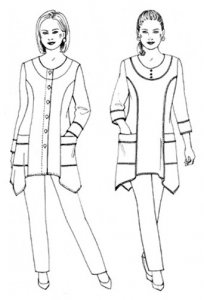 Saf-T-Pockets Top Notch Tunic - drawings