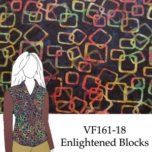 IF161-18 Enlightened Blocks - Amber and Rust on Midnight Abstract Balinese Cotton Batik Fabric