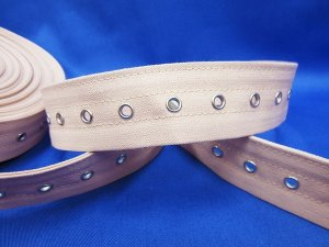 Corset Lacing Tape - Neutral Bone Casing with Nickle Grommets - Priced per 1/2 yd increments