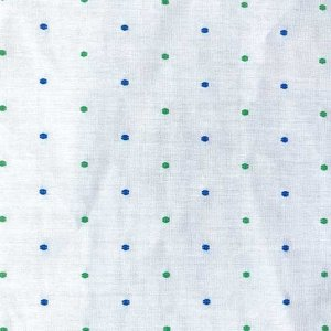 Sailor Cotton Dobby Fabric - White with Green and Blue