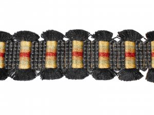 Fancy Black Fringe Trim #154 - For Home Decor and Upholstery - Black with Red Sage & Gold