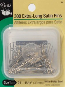 Dritz #21 Extra Long Satin Pins - 300 count