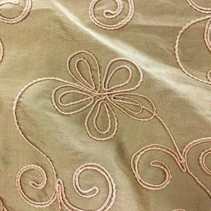 Embroidered Silk Dupioni - Warm Tan 157-15