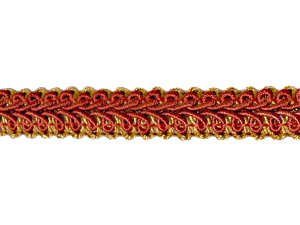 Fancy Gimp Trim #63 - For Home Decor and Upholstery - Red & Gold