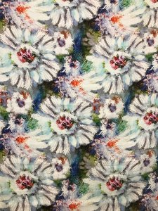 Digital Linen Print Fabric #39970-01White-Blue