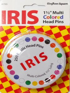 Gingham Square #1705 - Iris Multi-Colored Head Pins - 250 count