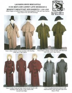 Laughing Moon #136 - C. 1750-1825 Men's and Ladies' Greatcoat and Garrick