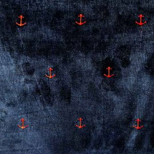 Embroidered Microwale Corduroy - Red Anchor on Navy